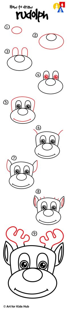 How To Draw Rudolph - Art For Kids Hub - Christmas Drawings 🎅 Basic Drawing, Drawing Lessons, Step By Step Drawing, Drawing For Kids, Art Lessons, Amazing Drawings, Easy Drawings, Cartoon Drawings, Animal Drawings