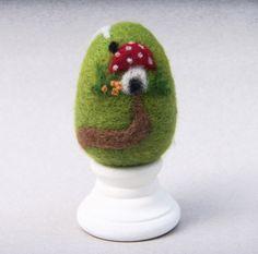 Needle Felted Egg - Home Sweet Home Mushroom House - Easter Egg. $15.00, via Etsy.