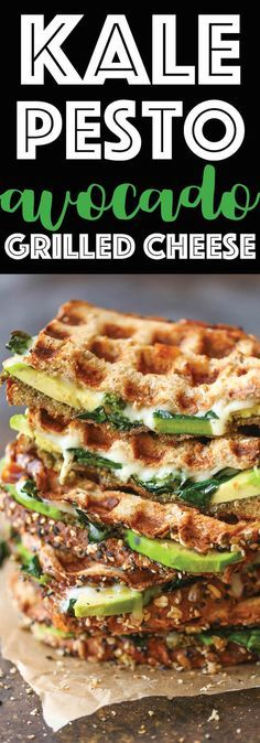 Kale Pesto Avocado Grilled Cheese. Hearty, cheesy, nutritious and filled with plenty of greens! Can be served for lunch or dinner for the entire family!