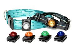 "The Hunting Series LED Dog Light attaches securely to collar, harness or leash via a unique slot opening that accommodates widths up to 1.5"" in one orientation and 1"" in the opposite. Base and lens are extremely impact-resistant and the ultra bright LED is rated for over 100,000 hours. The Guardian is also waterproof to a depth of 300 feet (90 meters) and will work flawlessly in conditions from -40˚ to 122˚ F."