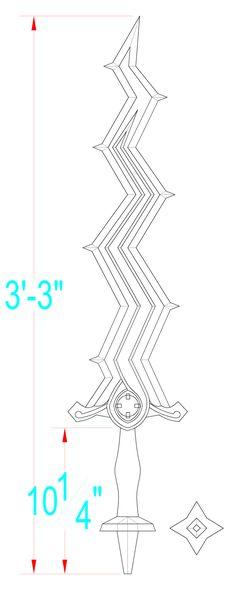 Fire Emblem Awakening: Levin Sword Template by Solvash on DeviantArt Cosplay Tutorial, Cosplay Diy, Cosplay Ideas, Fire Emblem Robin Cosplay, Fire Emblem 4, Fire Emblem Radiant Dawn, Fire Emblem Awakening, Diy Costumes, Design Inspiration