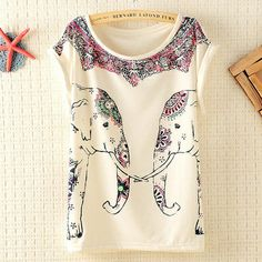 Cute Elephants Print Shirt with Flora Details D on InStores