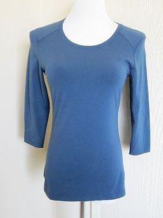 Lucy Size XS Dark Navy Blue Cotton Stretch Yoga Fitness 3 4 Sleeve Top Shirt | eBay