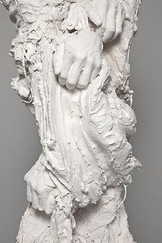 David Altmejd - Untitled 4 (The Watchers) 2011 plaster, wood, foam, burlap 94 x 40 x 35 inches