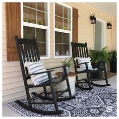 Front Porch Chairs, Front Porch Seating, Front Porch Furniture, Rocking Chair Front Porch, Front Porch Design, Farmhouse Rocking Chairs, Outdoor Rocking Chairs, Farmhouse Front Porches, Small Front Porches
