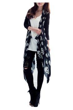 Amazon.com: CA Fashion Women's Black Cool Skull Print Top Cardigan Asymmetric Hemline: Clothing