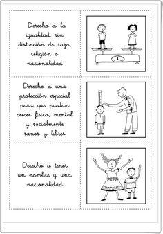 """""""Fichas"""", de amnistiacatalunya.org, ideales para celebrar el Día Internacional de los Derechos de la Infancia"""", el día 20 de noviembre. Se puede jugar con ellas, una vez recortadas, tratando de emparejar la ficha de texto con la correspondiente de imagen. Además aparecen """"fichas trampa"""" que contienen falsos derechos de los niños. Knowledge, Comics, Infants, Esl, Necklaces, Constitution Day, Boy's Day, Interactive Activities, Young Children"""