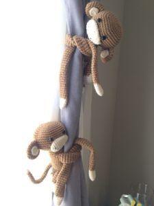 Crochet Monkey Curtain Tie Backs - Life Kari Style