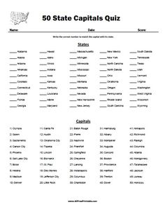 Match States And Capitals Worksheet Social Studies Worksheets, School Worksheets, Teaching Social Studies, Free Printable Worksheets, Free Printables, Printable Coloring, Map Quiz, States And Capitals, Us State Map