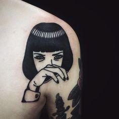 Pulp fiction tattoo by Matt Cooley at Rain City Tattoo, Manchester UK