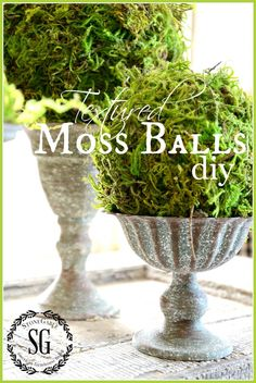 TEXTURED MOSS BALLS DIY-Create beautiful moss balls. Better than store bought-stonegableblog.com