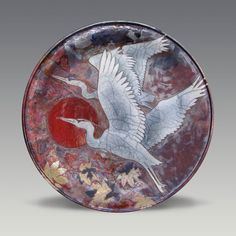 Raku by Boni & Dave Deal - Heron & Leaves Platter