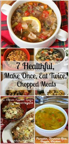 7 Healthful Chopped meals. A week's worth of healthful eating. No deprivation here! There's even Cheese involved. Healthful eating can be hearty, tasty and satisfying when you Chop a Chopped! 7 Healthful, Make Once, Eat Twice, Chopped Meals By KC … Continue reading →