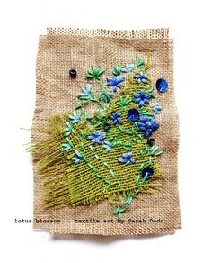 forget-me-not, lotus blossom... textile art by sarah dodd