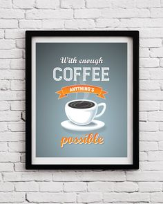 Coffee Quote Decor  Kitchen Decor  Coffee poster  by BlackPelican