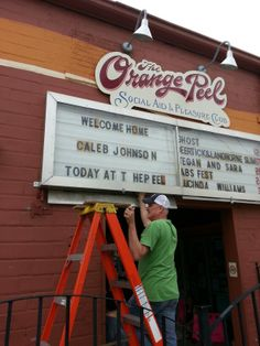 The sign goes up at The Orange Peel welcoming American Idol Caleb Johnson #FunkyVilleUSA aka #Asheville