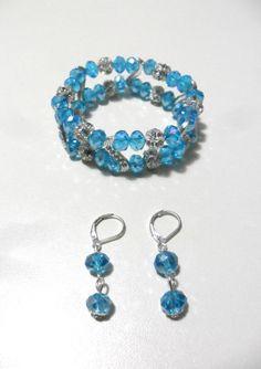 brazalete y aretes en muranos pasantes en strass y bolas de fuego diseño color beads