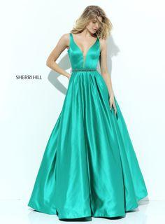 Spring 2017 Sherri Hill Utah Prom Dress Utah Dress Store V-neck Satin Ball gown Simple Classy Green Emerald