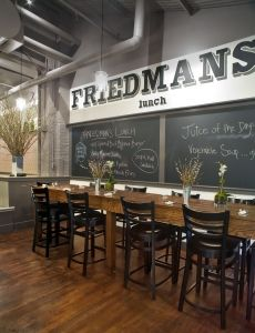 friedmans lunch - nyc, ny    located in chelsea market - this place is a real winner winner chicken dinner. ridiculous french fries and wicked good fish tacos. they also make a killer soy cappucino.
