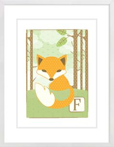 Patterned Fox Nursery Wall Print to brighten up your kid's room. Artwork prices start at $7.00. #nurserywallprints #patterned #fox