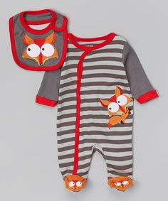 Look at this #zulilyfind! Gray & Orange Fox Footie & Bib - Infant by Nûby #zulilyfinds