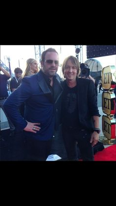 Lee Brice and Keith Urban at the 50th ACM awards.