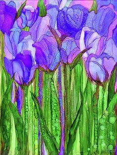 Tulip Bloomies 1 - Purple Art Print by Carol Cavalaris. All prints are professionally printed, packaged, and shipped within 3 - 4 business days. Choose from multiple sizes and hundreds of frame and mat options. Alcohol Ink Glass, Alcohol Ink Crafts, Alcohol Ink Painting, Alcohol Inks, Watercolor Flowers, Watercolor Paintings, Watercolors, Purple Art, Silk Painting