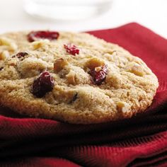 Crisp, moist and chewy, this cookie has the essential healthy ingredients for the #holidays: citrus, nuts and cranberries. These cookies travel well for gift-giving and lunchboxes. #EatingWell #MillionHearts