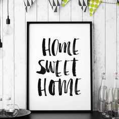 Home Sweet Home http://www.amazon.com/dp/B016MZ9VAQ inspirational quote word art print motivational poster black white motivationmonday minimalist shabby chic fashion inspo typographic wall decor