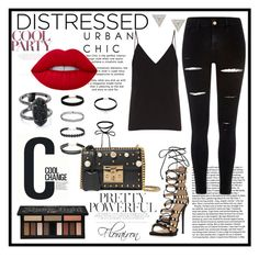 """""""Tonight's look"""" by florairon on Polyvore featuring Giuseppe Zanotti, River Island, Raey, Cool Change, Kat Von D, Gucci, Lizzie Mandler and Kendra Scott"""