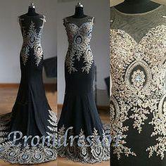 #promdress01 prom dresses - 2015 noble black chiffon satin long sweep train senior prom dress, ball gown - cute dresses for teens #coniefox #2016prom