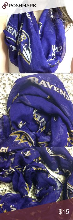 Baltimore Ravens sheer infinity scarf Represent your favorite NFL team with a feminine Baltimore Ravens sheer infinity scarf. Perfect accessory for the spring and fall. NWOT. Pet-friendly home. Accessories Scarves & Wraps