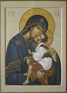 The Theotokos and Christ-Child. Byzantine Icons, Byzantine Art, Religious Icons, Religious Art, Religious Paintings, Blessed Mother Mary, Madonna And Child, Art Icon, Orthodox Icons