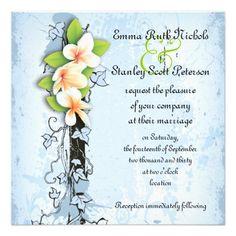 Vintage plumeria ivy blue white wedding invitation