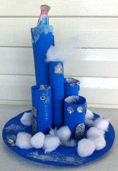 Cardboard Tube Elsa's Frozen Castle Craft (Toilet paper rolls, paper plate, and cotton balls!) | CraftyMorning.com