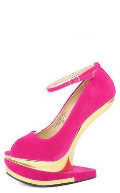 Agyness10 Peep Toe Heel Less Wedges FUCHSIA