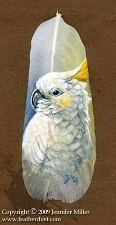 a gentleman sent me some of his parrots feathers to paint a portrait on. So here is Tia Dalma, the Citron-Crested Cockatoo. Tia Dalma the Cockatoo Feather Painting, Feather Art, Feather Tattoos, Rock Painting, Parrot Feather, Image Nature, Feather Crafts, Airbrush Art, Funny Tattoos