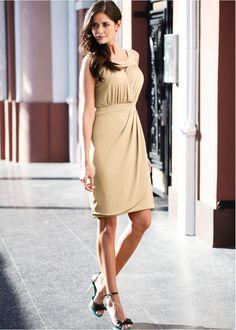 Vestido de malha bege encomendar agora na loja on-line bonprix.com.br  R$ 79,90 a partir de Em moderno look transpassado, com pequena abertura no decote ...