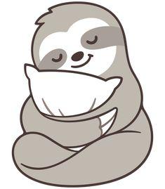 Cute sleepy sloth hugging pillow Art Print by Irmirx - X-Small Cute Baby Sloths, Cute Sloth, Cute Baby Animals, Baby Otters, Wild Animals, Cute Animal Drawings, Kawaii Drawings, Cute Drawings, Sloth Drawing