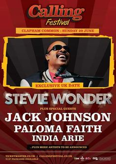 CALLING FESTIVAL   Announce Jack Johnson, Paloma Faith, India Arie and more!  www.ticketline.co.uk/calling-festival