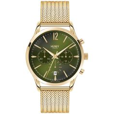Henry London Chiswick Mesh Strap Watch with Trio Dial ($234) ❤ liked on Polyvore featuring jewelry, watches, green, green jewelry, green watches, dial watches and green dial watches