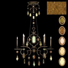 Oblong chandelier in variegated gold leaf finish with multi-colored crystal gems of citrine, carnelian, smoky quartz, brown and amber colors. Includes 2 feet of decorative chain included. Fine Art Lamps - 726040-1ST - Six Light Chandelier - Gold