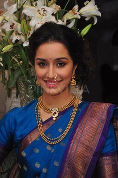 Shraddha Kapoor wears a traditional saree to celebrate Ganesh Chaturthi. Maharashtrian Saree, Marathi Saree, Marathi Bride, Marathi Wedding, Marathi Nath, Maharashtrian Jewellery, Indian Celebrities, Bollywood Celebrities, Bollywood Fashion