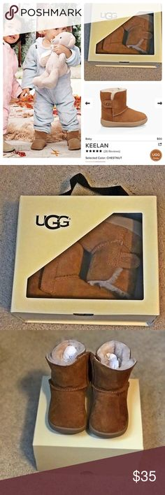 Baby UGGs Treat baby feet to the incredible feel of UGG® with this soft wool-lined bootie. An adjustable hook-and-loop closure makes it easy to slip those squirmy little feet in and out. These were bought for my son and only worn once. Some water spots as shown in the sixth picture but nothing terrible. In great condition.  Comes with box UGG Shoes Boots