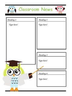 Editable owl themed newsletter.  $1!!