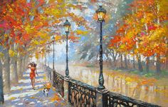 Autumn  Palette Knife Oil Painting on Canvas by by spirosart