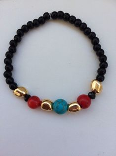 Excited to share the latest addition to my shop: Celebrate Beaded Necklace, Beaded Bracelets, Red Black, Etsy Shop, Turquoise, Trending Outfits, Unique Jewelry, Handmade Gifts, Celebrities