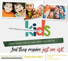 Kids white fillings are made of safe, non-toxic composite resin. They are directly applied to teeth, needing minimal preparation. Call if your kid has cavities. Pembroke Pines, Family Dentistry, Cavities, Dental, Teeth, Resin, Minimal, How To Apply, Kids