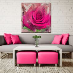 Ready2HangArt 'Painted Petals XL' Canvas Wall Art ($100) ❤ liked on Polyvore featuring home, home decor, wall art, pink, canvas wall art, pink home decor, blossom wall art, flower stem and pink flamingo wall art