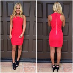 Top Of The World Textured Dress - RED
